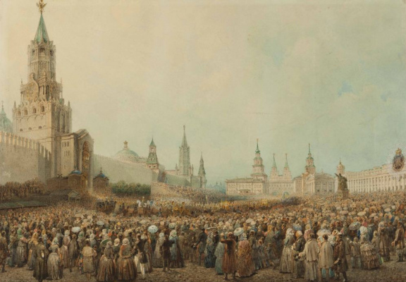 Vasily Semenovich Sadovnikov. Moscow. Check the coronation procession in the Kremlin's Spassky gate 17 Aug 1856, during the coronation of Emperor Alexander II
