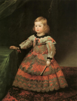 Diego Velazquez. Portrait of the Infanta Margarita in a pink dress