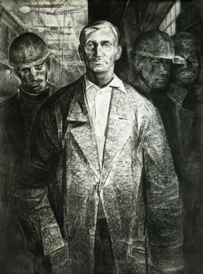 Valentin A. Shavrin. Miners. paper / charcoal. 80x50.