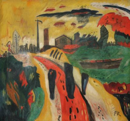 Franz Radziwill. Landscape with Three Black Silhouettes