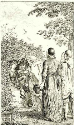 Даниэль  Николай Ходовецкий. Иллюстрация к Немецкому ежемесячнику , Генрих I с клеткой для птиц