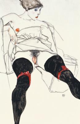 Egon Schiele. Woman in black stockings