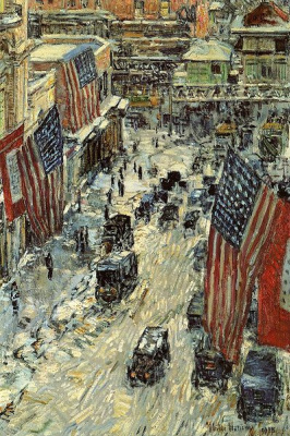 """Childe Hassam. Flags on Fifty-seventh street (a series of """"Flags"""")"""