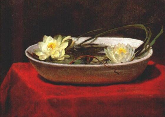 Ла Фарж. Водяные лилии в белой миске