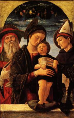 Андреа Мантенья. Мадонна с Младенцем и Святыми Иеронимом и Людовиком Тулезским