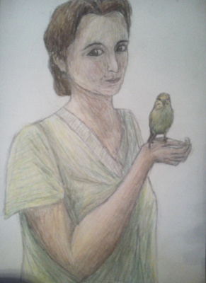 Zina Vladimirovna Parisva. Mom and the bird (in color)