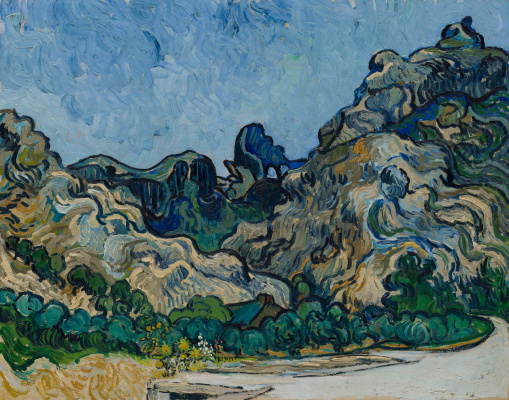 Vincent van Gogh. Hills near Saint-Remy with a dark house