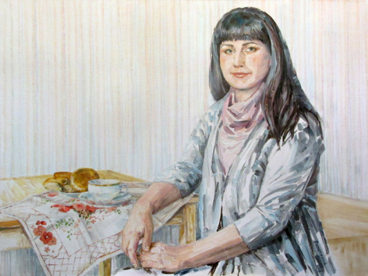 Olesya Rapotkin. Having a cup of tea (Portrait of Natalia I.)