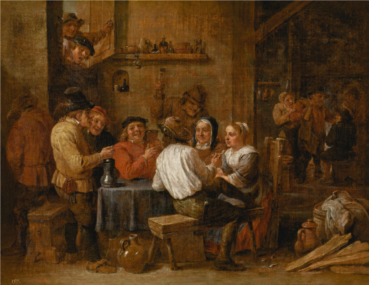 David Teniers the Younger. Drinking and smoking farmers