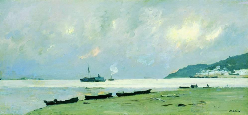 Isaac Levitan. Yuryevets. Cloudy day on the Volga