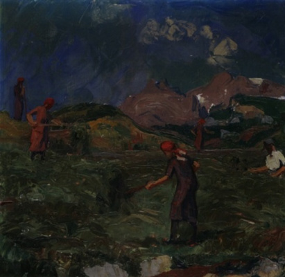 Giovanni Giacometti. Mountain landscape with peasants working