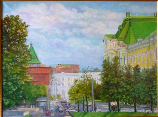"""Alexander Fedorovich Vazhnev. """"N. Novgorod"""". View from the bridge."""