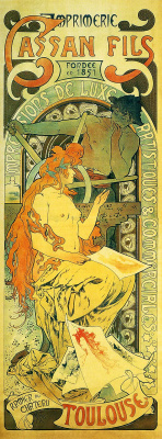 "Alfons Mucha. Advertising poster printing ""kassan Fils"" in Toulouse"