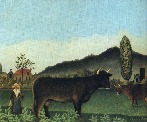 Henri Rousseau. Landscape with cow