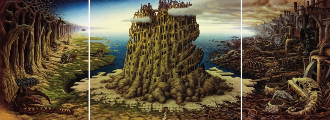 Jacek Yerka. Triptych. Tower of Babel
