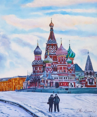 Alexander Romm. Moscow. In winter on Vasilyevsky Descent