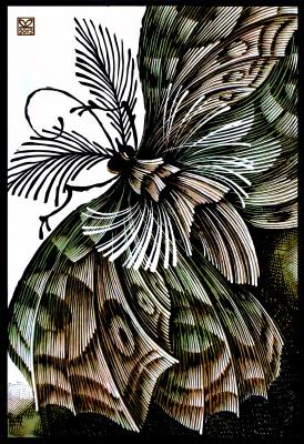 """Vladimir Kataev. """"Butterfly swamp"""", linocut, 63Х43 , 2012"""