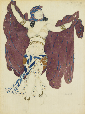 "Lev Samoilovich Bakst (Leon Bakst). Syrian dancer. Costume design for the ballet ""Cleopatra"""