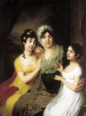 Vladimir Lukich Borovikovsky. Portrait of Countess Anna Ivanovna Bezborodko with daughters Lyubov and Cleopatra