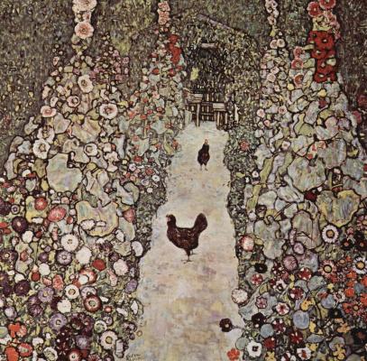 Gustav Klimt. Path in a garden with chickens
