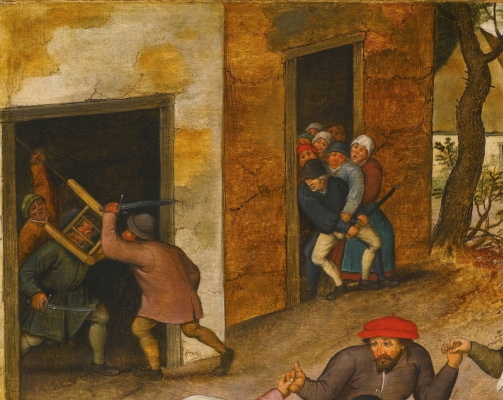 Peter Brueghel The Younger. Peasant dance in the village street. Fragment. Fighting peasants