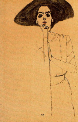 Egon Schiele. Portrait of a woman in a black hat