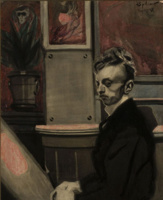 Леон Спиллиарт. Self-portrait (Autoportrait), 1908 Encre de chine, lavis, pinceau