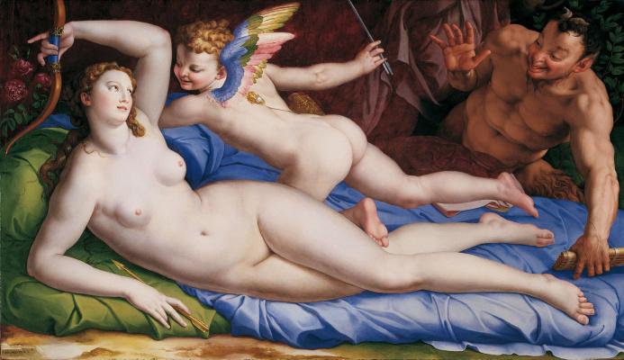 Agnolo Bronzino. Venus, Cupid and Satyr