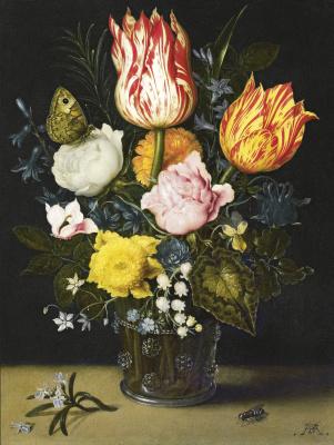 Амброзиус Босхарт Старший. Цветочный букет в стеклянном графине