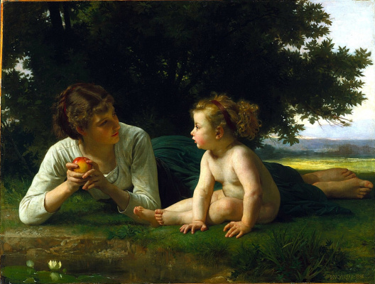 William-Adolphe Bouguereau. A woman with a child on the lawn