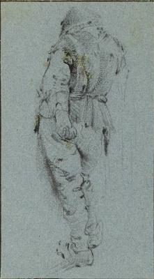 Адриан Янс ван Остаде. Стоящий крестьянин, вид со спины