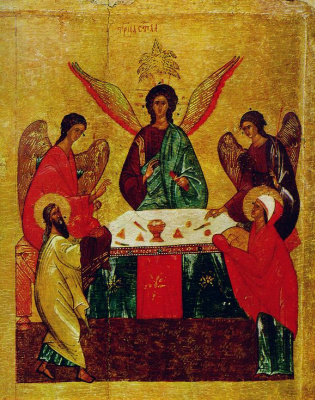 Icon Painting. The old Testament Trinity icon