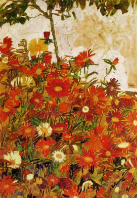 Egon Schiele. Field of flowers