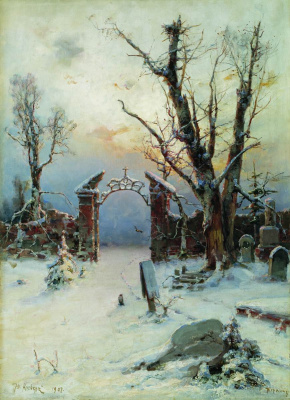 Julius Klever. Winter in the cemetery