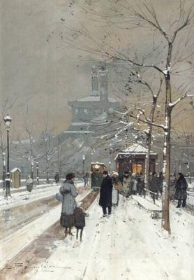Эжен Галиен-Лалу. Люди в снегу в Париже