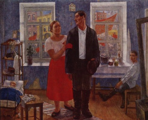 Kuzma Sergeevich Petrov-Vodkin. The first demonstration (Family working on the first anniversary of October)