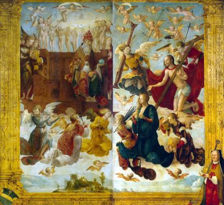 Ганс Зюсс фон Кульмбах. Христос и Мария перед Богом-отцом
