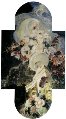 """Mikhail Vrubel. Chrysanthemum. Triptych """"Flowers"""" for the house of E. D. Dunker in Moscow. The Central part of the triptych"""