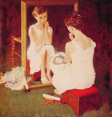 """Norman Rockwell. The girl in the mirror. Cover of """"The Saturday Evening Post"""" (March 6, 1954)"""