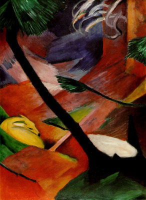 Franz Marc. ROE deer in the forest