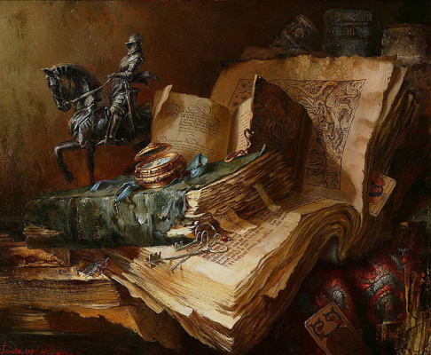 Ivan Efimovich Slavinsky. Ancient books and a statuette of a knight