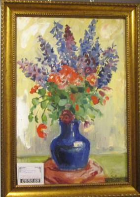 Yuri Ukolov. Bouquet in a blue vase.