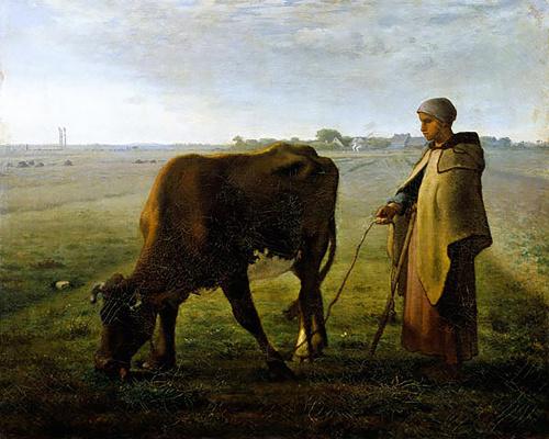 Jean-François Millet. Peasant woman herding a cow