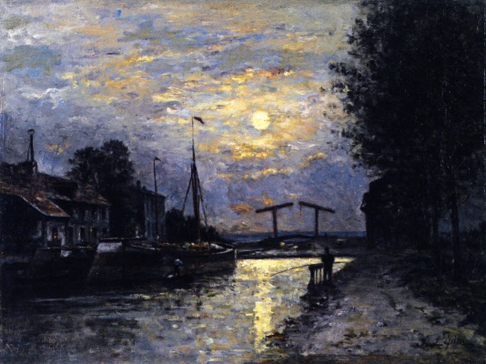 Stanislas Victor Eduard Lepin. The canal Saint-Denis, effect of moonlight