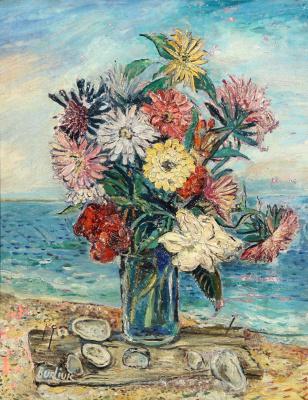 David Davidovich Burliuk. Still life with flowers on the beach