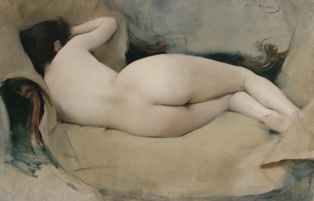 Ramon Casas i Carbó. Reclining naked from behind