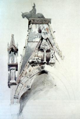 John Ruskin. Northern gable tomb of the tomb of Mastino della Scala, Verona