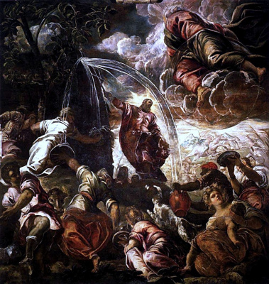 Jacopo (Robusti) Tintoretto. Moses stripping water from the rock
