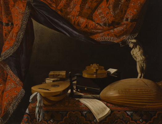 Evaristo Baskenis. Still life with musical instruments, books and sculpture