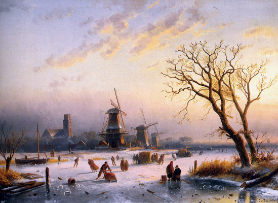 Charles Henry Joseph Lackert. Winter пейзаж5